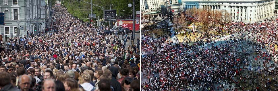 Protests in Moscow and Quebec