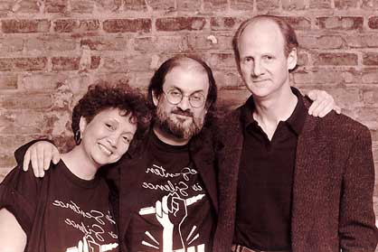 Adrienne Clarkson and John Ralston Saul with Salman Rusdhie