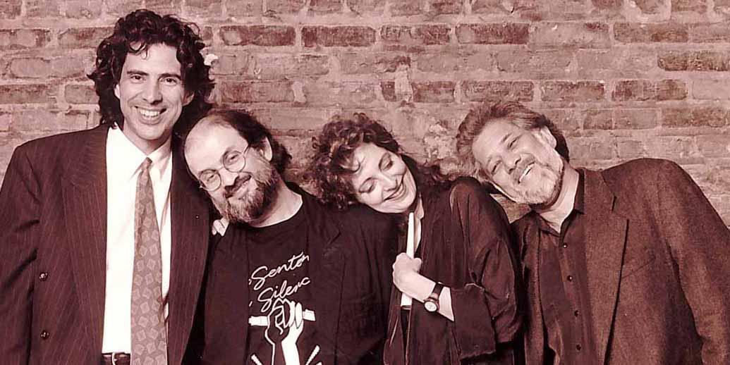 Salman Rushdie 1992 benefit, Ric Young, Salman Rushdie, Louise Dennys, and Michael Ondaatje
