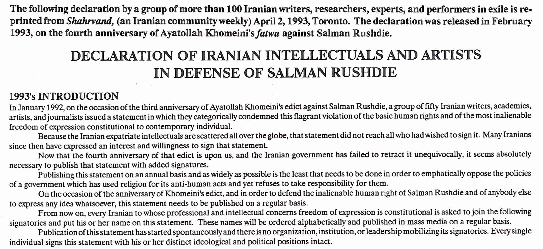 Iranian declaration in support of Salman Rushdie