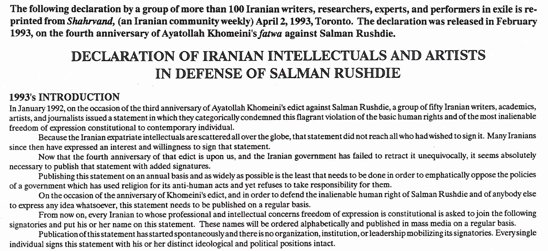 Iranian declaration in support of Salman Rushdie
