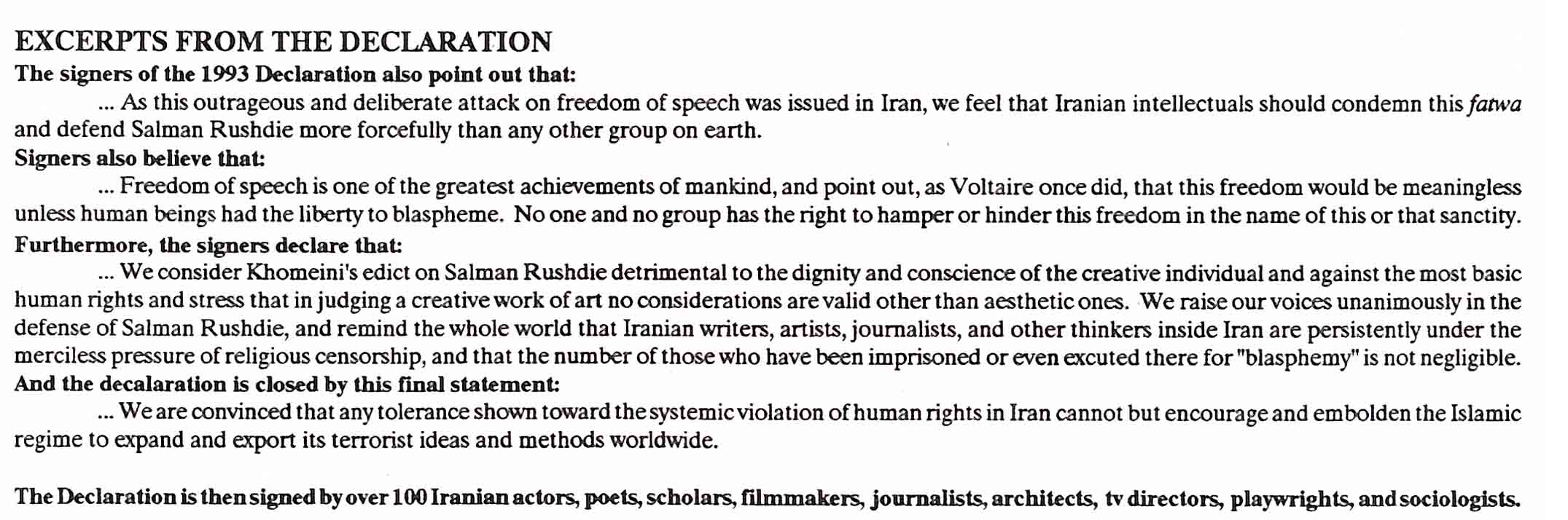 Extracts from the Iranian declaration in support of Salman Rushdie