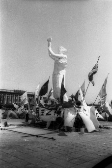 """Beijing, China, June 2, 1989: Statue of the """"Goddess of Democracy"""" built by student protesters against the Communist government, in Tiananmen Square. The statue was destroyed and hundreds killed two days later when the army stormed the Square. Photograph by ALAN CHIN"""