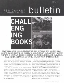 The front page of PEN Canada's Spring 2006 newsletter.