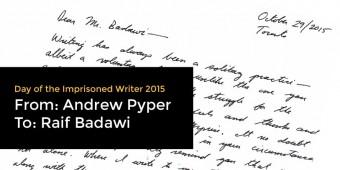 Andrew Pyper Writes to Raif Badawi