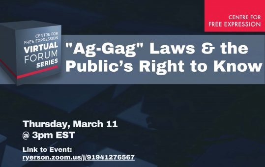 Ag-Gag Laws & the Public's Right to Know | CFE Virtual Forum Series